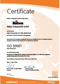 Roeben Certificate ISO 50001